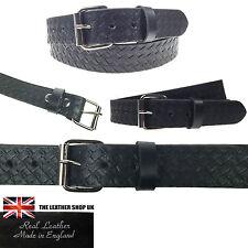 "Black 1.5"" Full Grain Leather Embossed 40mm Press Stud Silver Roller Buckle Belt"