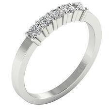 SI1 H Genuine Diamond Five Stone Engagement Ring 0.50Ct Prong Set 14K White Gold