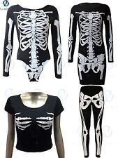 Halloween Skeleton Bodysuit Womens Skull Bones Body con Tunic Crop top lot 8-22