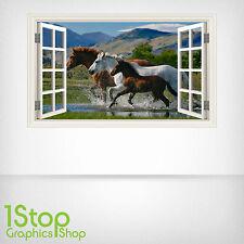 Ventana De Pared Pegatina de campo de caballos a todo color-Salón Dormitorio Pared Arte W8