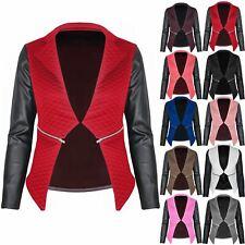 Women Blazer Ladies Quilted PU Leather Look Long Sleeve Zip Waterfall Jacket Top