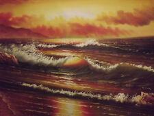 SUNSET Ocean Wave MARE enorme DIPINTO AD OLIO SU TELA MODERNO Flora Arte contemporanea
