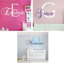 Girls Initial Wall Decal Custom Monogram Wallpaper Vinyl Name Removable Art, g32
