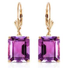 13 ctw Natural Amethyst Emerald Cut Gemstones Leverback Earrings 14K. Solid Gold