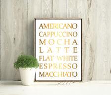 Americano Cappuccino Coffee Restaurant Real Foil Print Quote Home Decoration Art