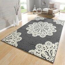 Design Velours Tapis dentelle gris crème 102421