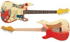 "Icône vintage effet vieilli v6mrhdx ""Summer of Love"" Hendrix hommage guitare électrique"