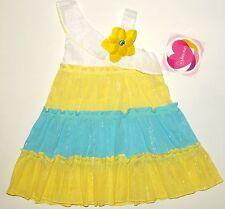 NWT Girls 2T-3T 5 Yellow White Aqua Blue Metallic Tiered Summer Dress Sundress