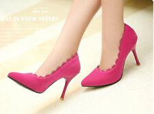 Décollte Scarpe decolte donna spillo tacco 9 cm stiletto rosa magenta 8818