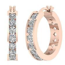 VS1 E 1.40 Carat Natural Diamond 0.80Inch Hoops Earrings 14K Rose Gold Appraisal