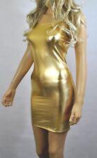 GOLD Metallic Mini DRESS Wet Look Lycra Strapless Boob Tube BODYCON Shiny D106