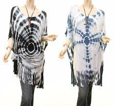 Western Boho Hippie Tie Dye Fringe Hem Oversized Jersey Tunic Shirt Top S M L