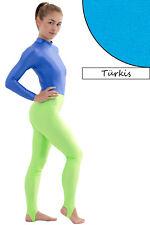 Damen Leggings mit Steg türkis Voltigierhose Glanz elastisch Größen S bis XL