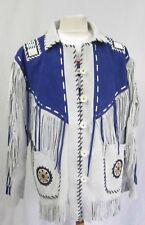 Men's White Western Veste en Cuir avec frange Perles Avec Bleu Patches Manteau