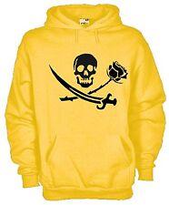Felpa Con Cappuccio Fan hoodie KJ678 Skull Roses Dagger Teschio Rosa Pugnale