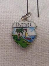 Vintage REU Sterling/Enamel Fort Myers Beach, Florida Bracelet/Travel Charm