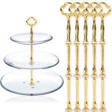 5 x3 étages présentoir gateau cupcake poignée assiettes vigne L24cm argenté doré