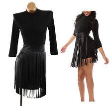 Plus Black Faux Leather Fringe Skirt Bodycon Mini Dress Mock Neck