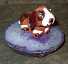 Beagle Ceramic Dog New Purple Agate Slice Loyalty Animal Totem Decorative