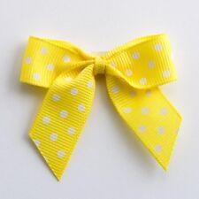 5cm Polka Dot Grosgrain Bows Self Adhesive Yellow 5712