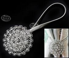 2X Magnetic Crystal Curtain Clip Tiebacks Tie Backs Buckle Home Luxury Silver