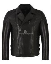 Men's Leather Biker Jacket Black Slim Fit Black 100% Veg Tanned Leather 2041