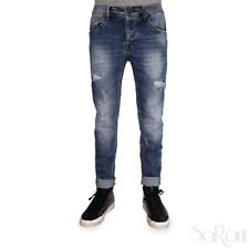 Pantaloni Jeans Uomo Casual Cavallo Basso Strappato Rotture Denim Cotone SARANI