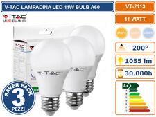 V-TAC VT-2113 SUPER SAVER PACK CONFEZIONE 3 LAMPADINE LED E27 11W BULB A60