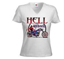 Biker Damen T-Shirt Hell on Wheels weiß Rockabilly Vintage Pinup V8
