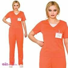 WOMENS ORANGE CONVICT PRISON ADULT LADIES HALLOWEEN FANCY DRESS COSTUME JUMPSUIT