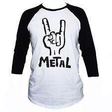 Heavy Metal T-Shirt 3/4 Sleeve Black Sabbath Metallica Funny Top  ALL SIZES