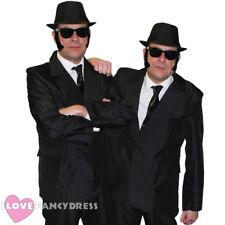MENS 1980'S BLUES COSTUMES SUIT HAT GLASSES TIE SIDEBURNS COUPLES FANCY DRESS