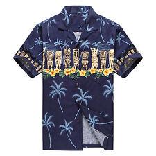 Made in Hawaii Men Hawaiian Aloha Shirt Luau Beach Cruise Party Blue Navy Tiki