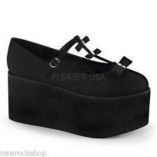 DEMONIA CLICK-08 Ladies Black Canvas T-Strap Studded Platform Mary Jane Shoes