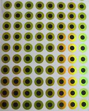 3mm 4mm 5mm 6mm 7mm 8mm 9mm 10mm Chartreuse 2D Flat Stick-On Fishing Lure Eyes