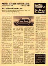 Alfa Romeo Giulietta Motor Trader Service Data Feb 1980