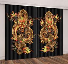 Oriental Gold Dragon 3D Photo Print Blockout 2 Panel Drape Curtain Fabric Window