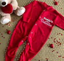 LITTLE VALENTINE ROMPER GIFT, White Glitter Mummy Daddy Valentine Red Babygrow