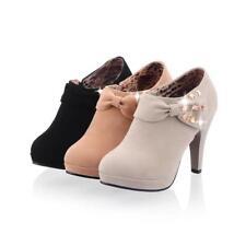 Lady Cocktail Court Platform Rhinestones High Stilettos Heels Chic Bowtie Shoes