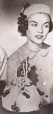 Vintage Crochet PATTERN Hat Drawstring Hobo Bag 50s