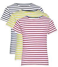 Niños Niñas Infantil Azul Blanco Rojo Con Rayas T Camiseta Algodón Camiseta