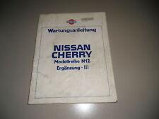 Werkstatthandbuch Nissan Cherry N12 Ergänzung 06/1985