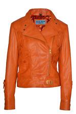 Nouveau Femmes Luxe Veste Orange Véritable Italien Nappa Cuir Style Motard Design