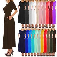 J Doe Style Women's Basic Waist Band and Scoop Neck Long Dress (Size:S-5X)1078