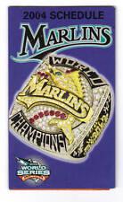 2004 Florida Marlins Team Schedule World Series Ring