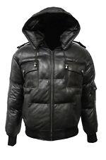 Men's ARCTIC PILOT Black Puffer Jacket Hooded Bomber Genuine Lambskin Leather