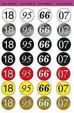 MG 6511 Series ~ Racing Number Roundels, 11 in. Diameter (4 Fonts / 7 Colors)
