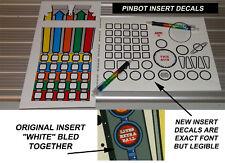 Pinbot Pinball Machine Insert Decals