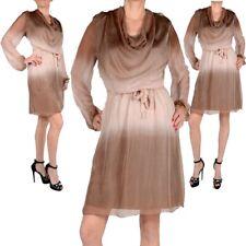 lujo seda vestido de cóctel estilo Capas Noche S M L Cascada beis NUEVO