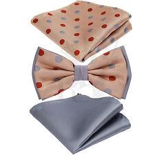 Two Tone Fashion Design Polka Dots Men Pre-tied Bowtie Hanky Peach Burgundy Grey